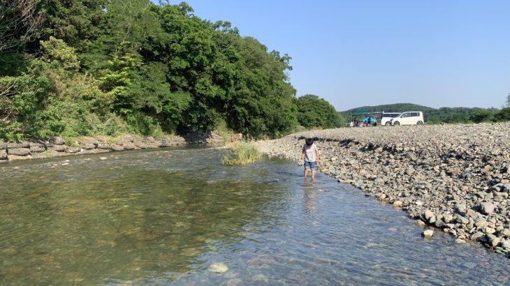 学校橋でキャンプして、川遊び!